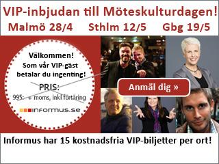 Obs, endast 15 kostnadsfria VIP-biljetter per ort till Möteskulturdagen - Anmäl dig här »